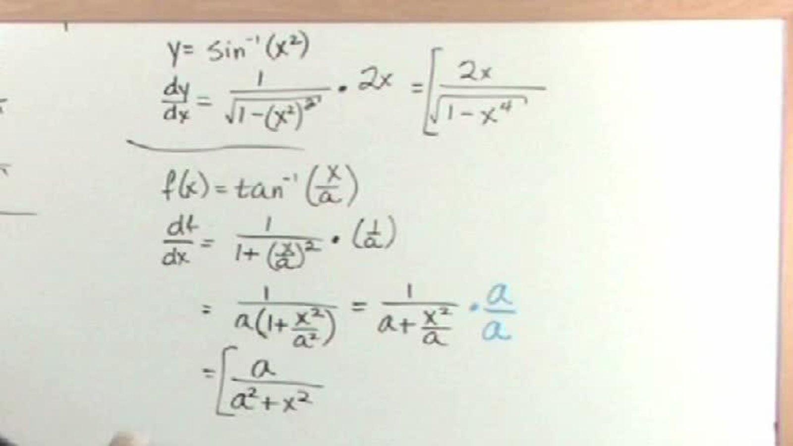 Inverse Trig Derivatives