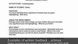 Examples of Written Feedback (Primary)